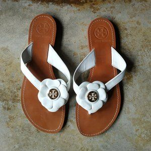 Tory Burch White Flower Sandals